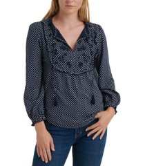 lucky brand cotton dot-print embroidered-bib top