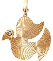 'dove' diamond 14k yellow gold bracelet charm - large