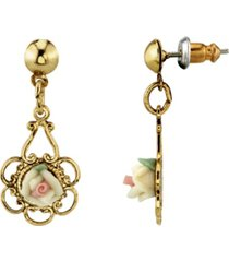 2028 gold-tone ivory color porcelain rose drop earrings