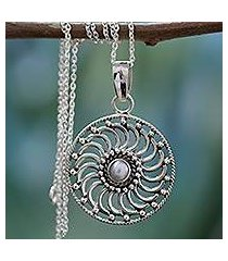 cultured pearl pendant necklace, 'whirlwind' (india)