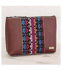 cotton accent leather cosmetic bag, 'san antonio flowers' (guatemala)