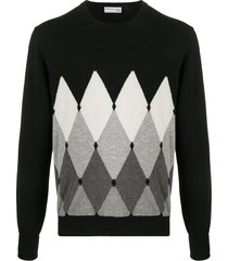 ballantyne diamond pullover cashmere jumper - black