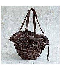 leather shoulder bag, 'espresso sambura' (18 inch) (brazil)