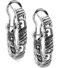 "carolyn pollack small textured filigree hoop earrings in sterling silver, 1"""