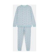 pijama blusa manga longa e calça em tricô com estampa floral | lov | azul | m
