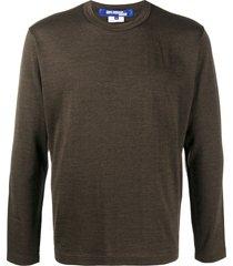 junya watanabe man elbow patch-embellished t-shirt - brown