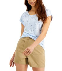 style & co petite summer sky printed cuffed t-shirt, created for macy's