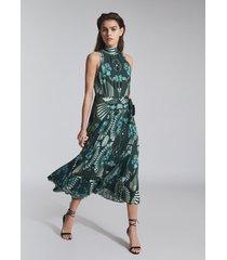 reiss eddie - printed midi dress in green, womens, size 14
