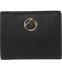 fendi bifold black leather wallet