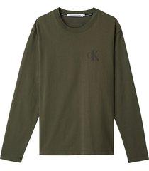 camiseta de manga larga de algodón reciclado verde calvin klein
