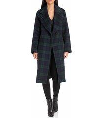 women's avec les filles double face wool blend coat, size x-large - blue/green