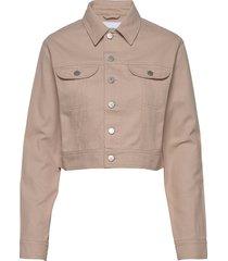 cropped twill jacket jeansjacka denimjacka beige calvin klein jeans