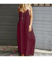 zanzea vestido largo de patchwork de encaje con correa de verano para mujer vestidos largos de cóctel -rojo