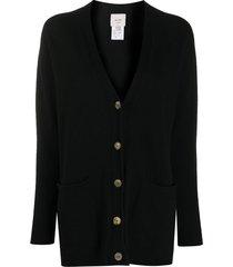 alysi cashmere-wool blend knit cardigan - black