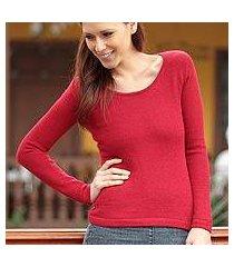 100% alpaca sweater, 'ruby charm' (peru)