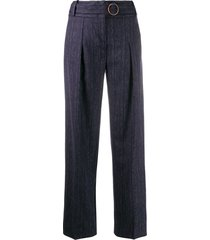 victoria victoria beckham belted straight-leg trousers - blue
