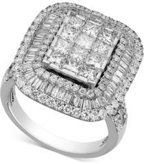 diamond square halo ring (3 ct. t.w.) in 14k white gold