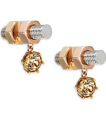 rose gold-plated, palladium-plated & crystal earrings