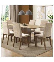 conjunto sala de jantar madesa cecília mesa tampo de madeira com 6 cadeiras rustic/crema/fendi rustic