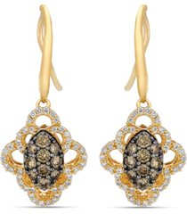 le vian chocolatier chocolate diamonds (1/2 ct. t.w.) & vanilla diamond (1/3 ct. t.w.) drop earrings in 14k gold