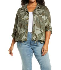 caslon(r) lightweight utility jacket, size 3x in green- grey camo wave at nordstrom