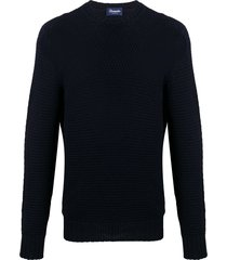 drumohr long sleeve woven knit sweater - blue