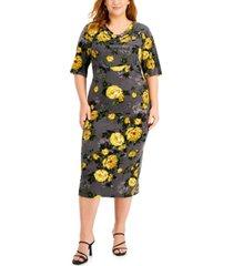 connected plus size floral-print cowlneck midi dress