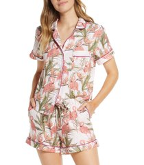 women's the lazy poet nina linen short pajamas, size x-small - pink