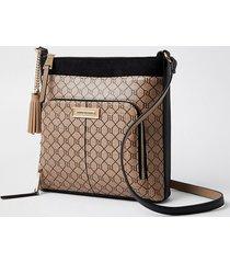 river island womens brown zip ri monogram print messenger bag