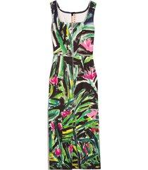 sleeveless square neck dress in fern green