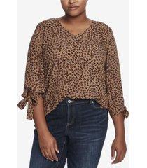 cece plus size 3/4 tie sleeve leopard cluster