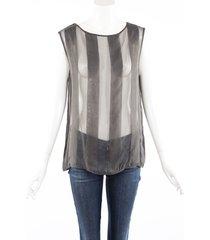 brunello cucinelli gray sheer striped silk sleeveless top gray sz: m