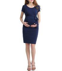women's kimi and kai lana ruched maternity dress, size x-small - blue