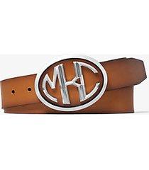 mk cintura monogramme in pelle di vitello - cuoio (marrone) - michael kors