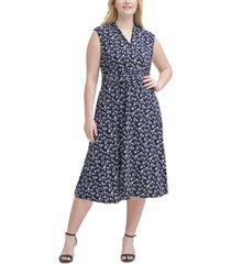 jessica howard plus size printed gathered-waist dress