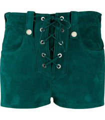 manokhi suede lace-up shorts - green