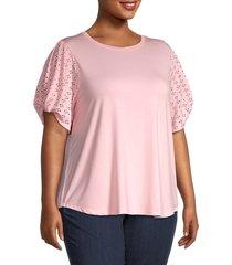 cooper & ella women's plus eyelet-sleeves top - pink - size 2x (18-20)
