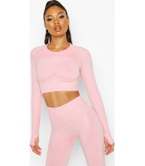 fit contouring seamless long sleeve crop top, pink