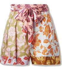 the lovestruck belted floral-print silk-twill shorts