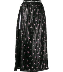 alexander wang floral lace accent skirt - black