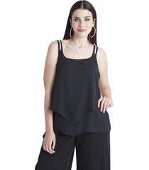blusa con strass en tirantes negro lorenzo di pontti