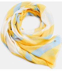 bufanda cuadros reciclado amarillo esprit