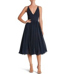 women's dress the population alicia mixed media midi dress, size medium - blue