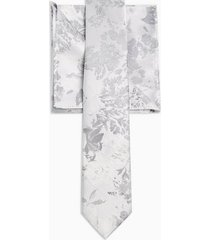 mens metallic silver jacquard floral tie and pocket square multipack
