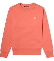 pale red crew-neck sweatshirt