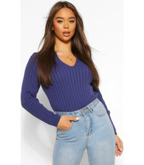 polo collar rib knit sweater, navy