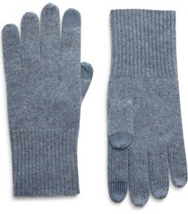 women's halogen cashmere tech gloves, size one size - blue