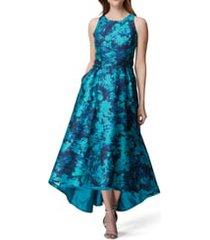 women's tahari sleeveless printed mikado gown, size 14 - blue/green