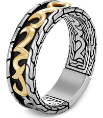 'classic chain' 18k gold silver band ring
