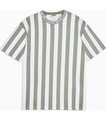 mens khaki and white stripe ribbed t-shirt
